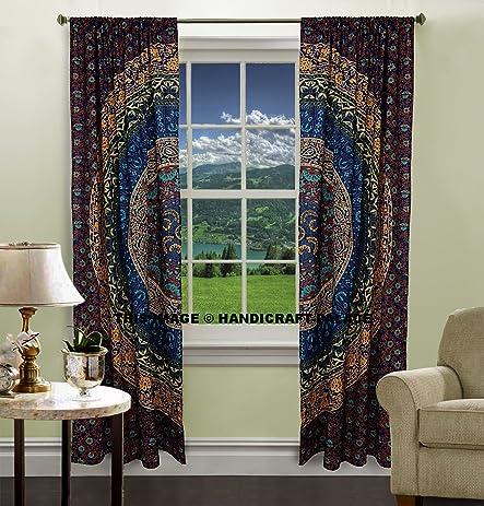 Peacock Mandala Window Curtains Indian Drape Balcony Room Decor Curtain  Boho Set Urban Large Tapestry Window
