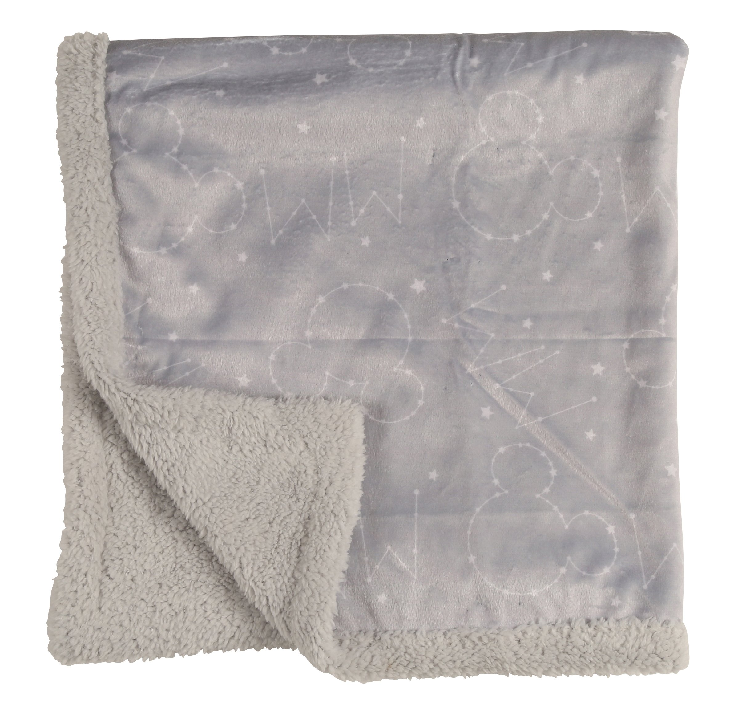Disney Mickey Mouse Double Sided Mink Infant Blanket, Gray