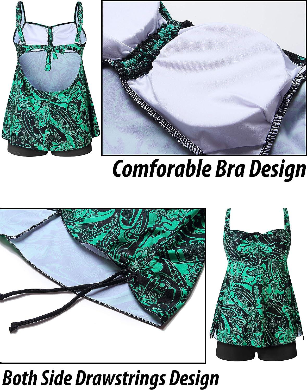 ANLISIM Plus Size Swimsuit Swimwear Tankini Bathing Suit for Women Two Piece Design