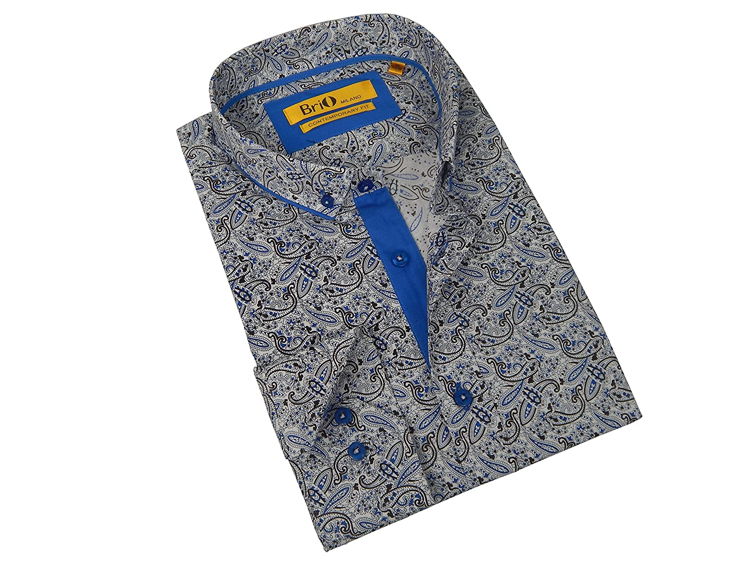 Amazon Brio Milano Mens Finest Cut Multicolor Paisley Blue Trim