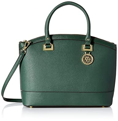7fd58219dc Amazon.com: Anne Klein New Recruits Large Dome Satchel Bag, Verde, One  Size: Clothing