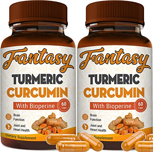 2-Pack Turmeric Curcumin with Bioperine 1650mg. Premium Pain Relief Joint Support with 95 Standardized Curcuminoids. Non-GMO, Gluten Free Turmeric Capsules with Black Pepper