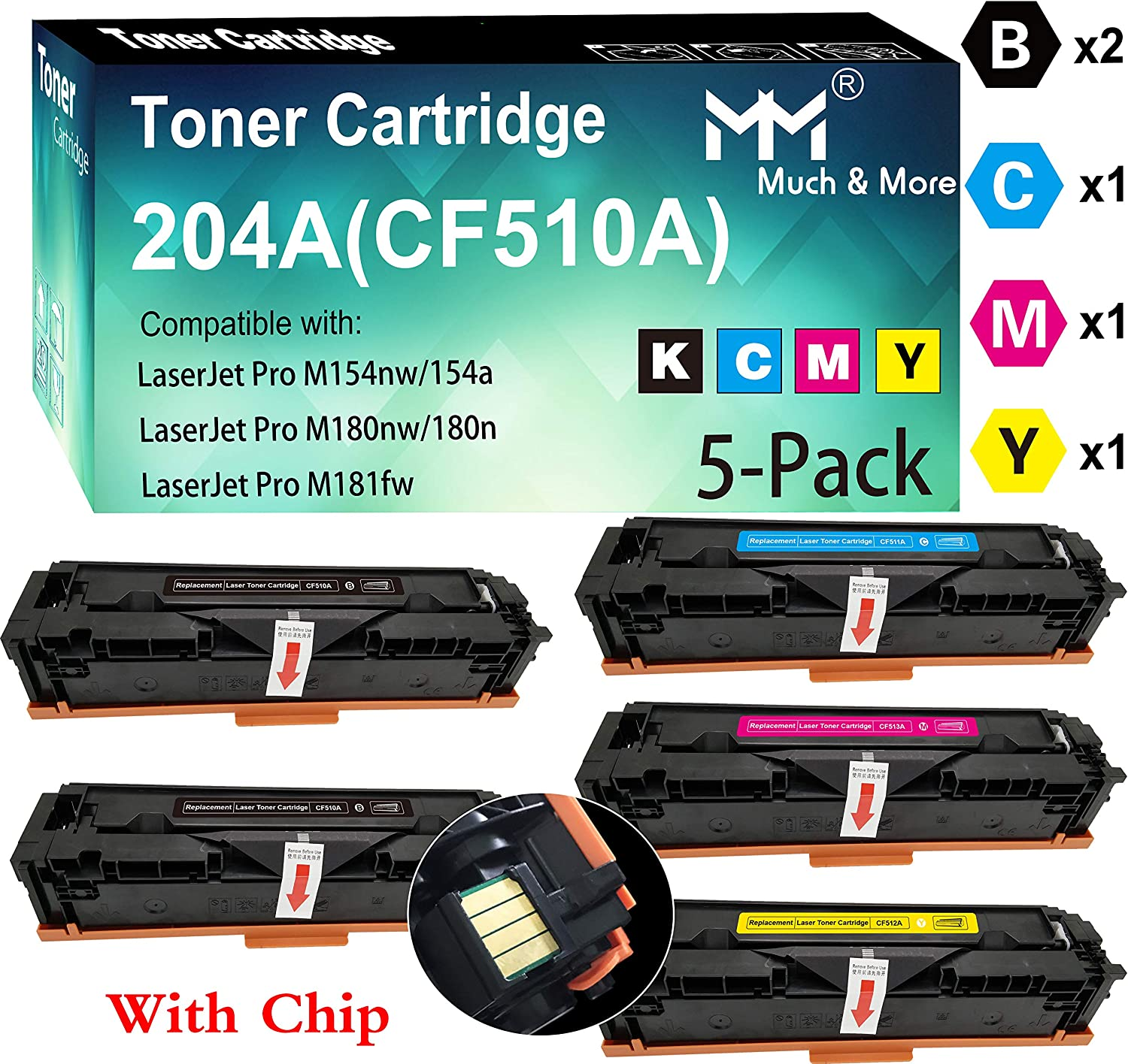 Compatible (5-Pack, 2X B+C+M+Y) CF513A CF512A CF511A CF510A 204A Toner Cartridge Used for Laserjet Pro M154NW M154A M181FW M180NW M180N Printer, by MuchMore