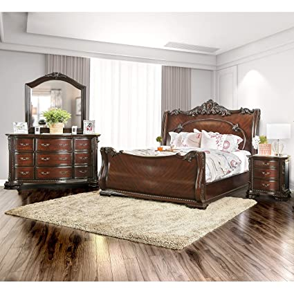 Amazon.com: Furniture of America Luxury Brown Cherry 4-Piece Baroque ...