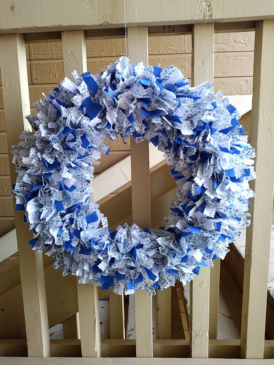 Amazon blue flower wreath year around wreath mom wreath house amazon blue flower wreath year around wreath mom wreath house warming gift stair decor wreath for front door country farmhouse wreath spring wreath rag izmirmasajfo