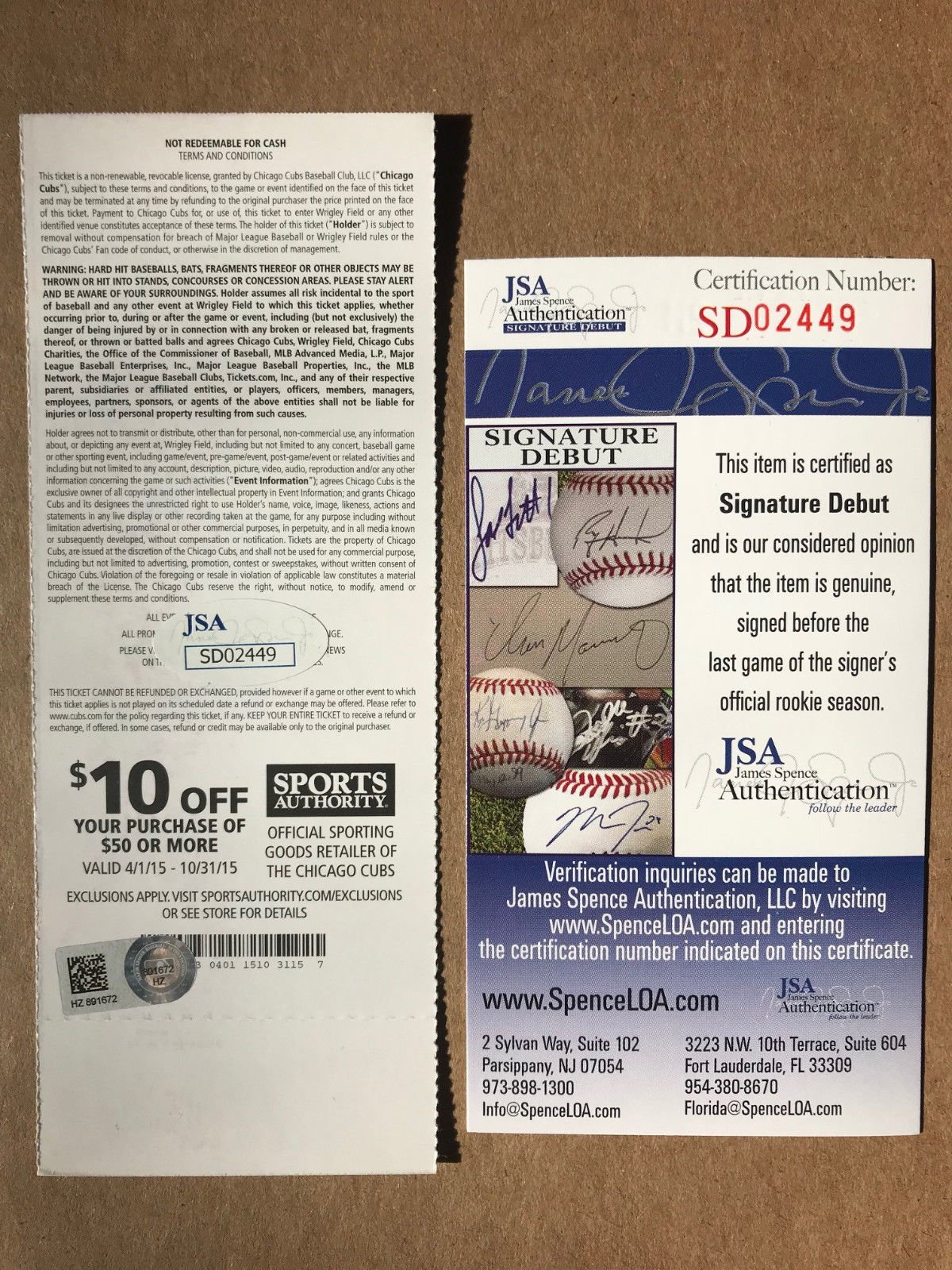 Noah Syndergaard Signed Autograph MLB Debut 5 12 15 Ticket JSA Certified MLB Certifiedated