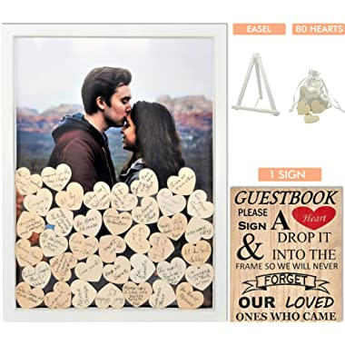 Wedding Guest Book Alternative with Hearts | Removable Back | Includes Sign Please Sign A Heart  | Drop Top
