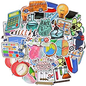 100 Pieces Back to School Stickers Water Bottle Science Stickers Waterproof Vinyl Science Stickers Pack for Computer, Luggage, Guitar, Laptop, Water Bottle, Refrigerator, Car, Bike, Bicycle