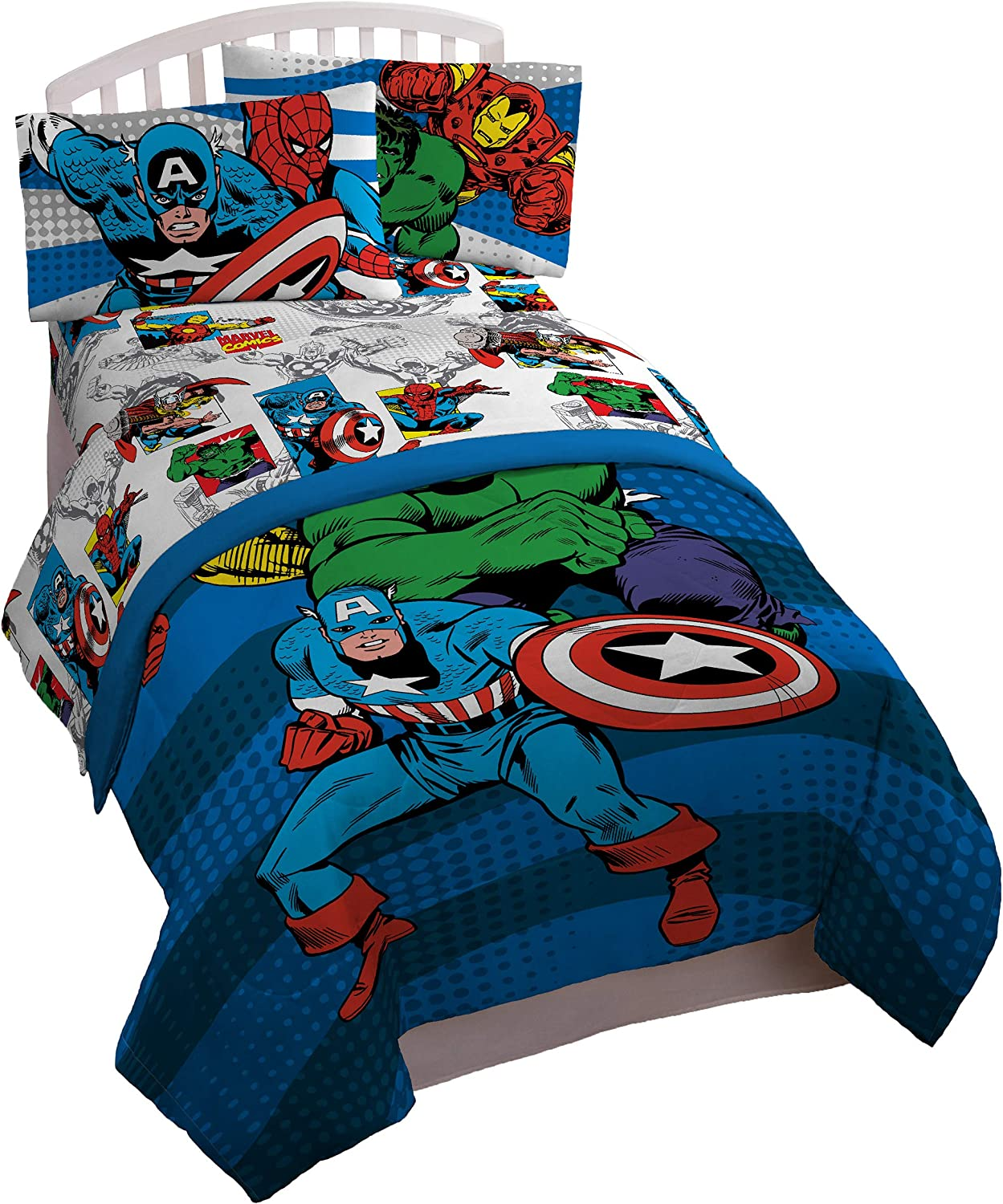 Jay Franco Marvel Comics Avengers Good Guys 4 Piece Twin Bed Set,