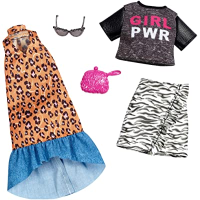 """Barbie Clothes: 2 Outfits for Barbie Doll Feature """"Girl Power"""" Tee and Animal Prints On Long Dress and Ruffled Skirt, Gift for 3 to 8 Year Olds: Toys & Games"""