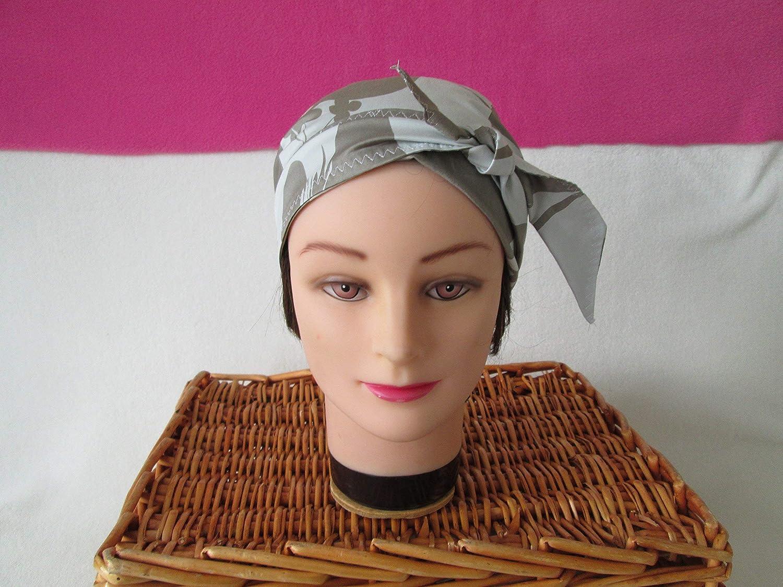 Foulard, turban chimio, bandeau pirate au féminin écru et beige foncé