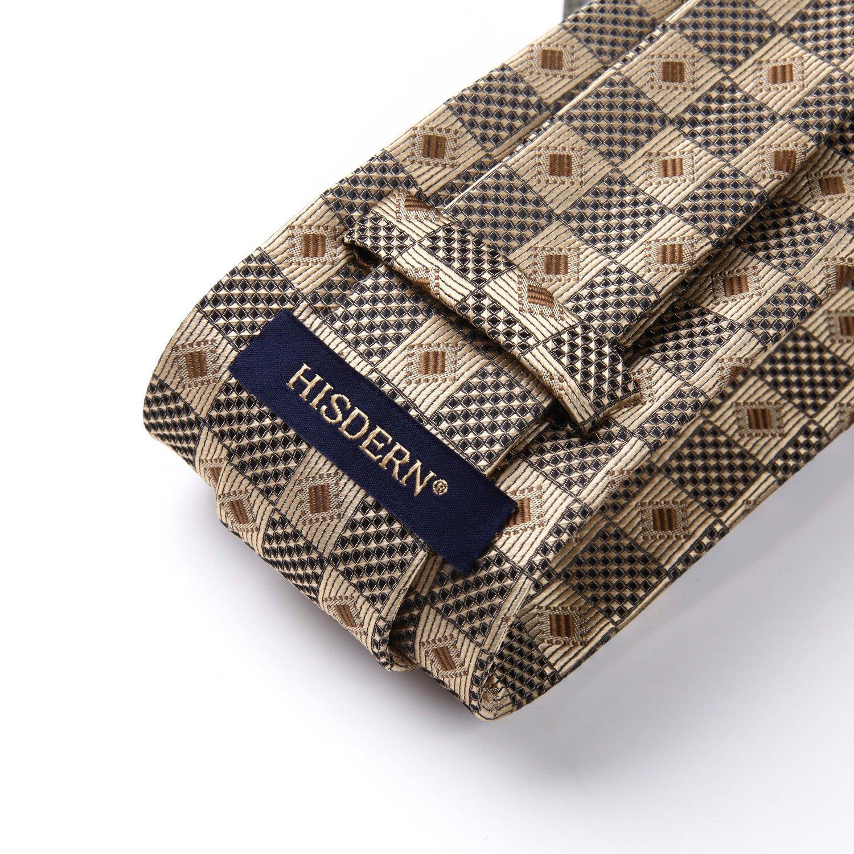 HISDERN Extra Long Check Tie Handkerchief Mens Necktie /& Pocket Square Set