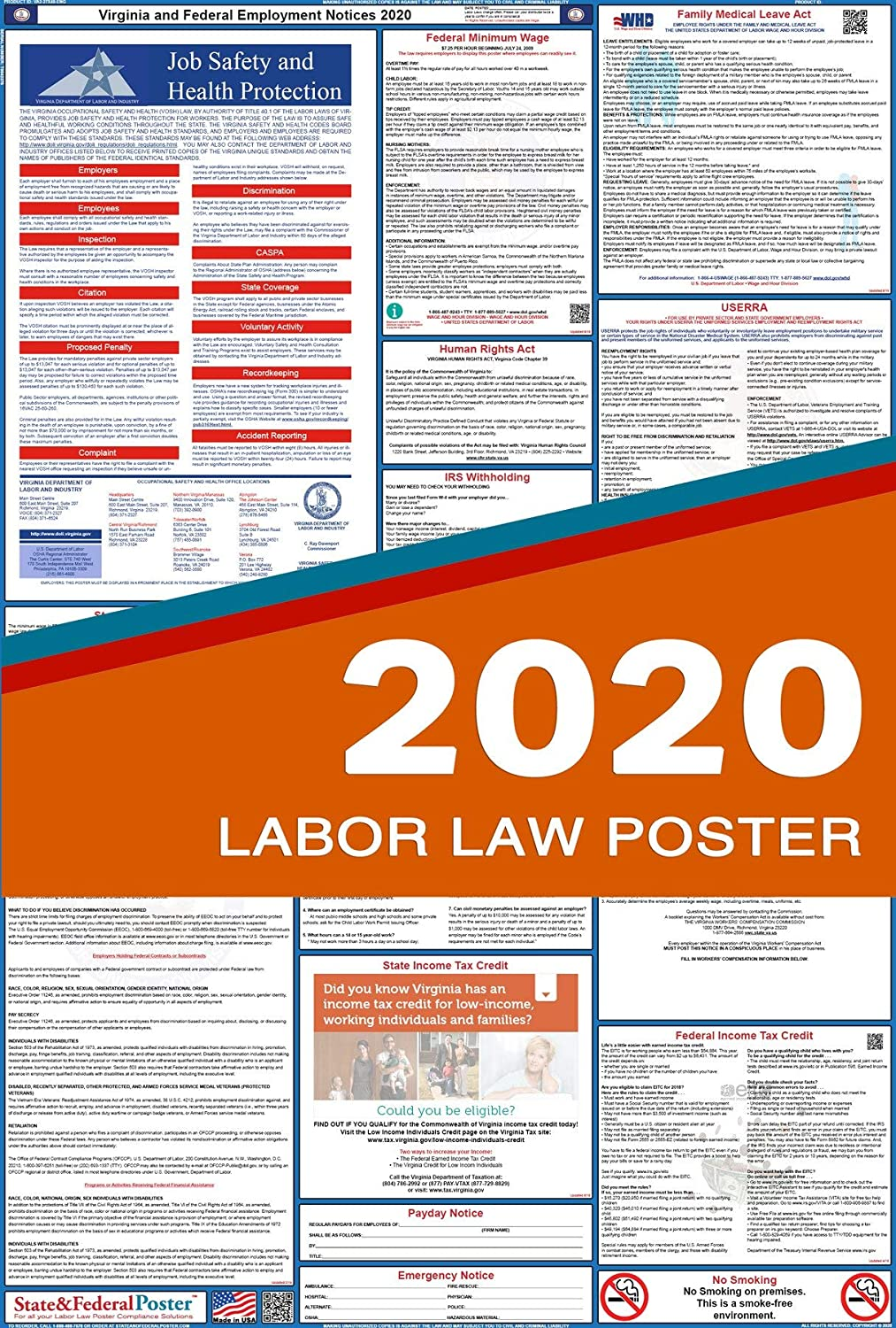 """2020 Virginia State and Federal Labor Law Poster - Laminated 27"""" x 40"""""""
