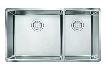 franke cux160 cube 18g stainless steel double bowl kitchen sink - Frank Kitchen Sink
