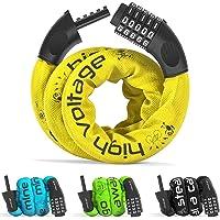 Candado Bicicleta con Código de Número y Cadena de Acero | Cerradura Seguridad Cable 5 dígitos combinacion amarre…
