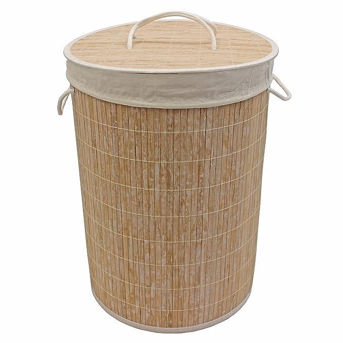 JVL Panier à linge rond en bambou, Blanc, 35x 50cm