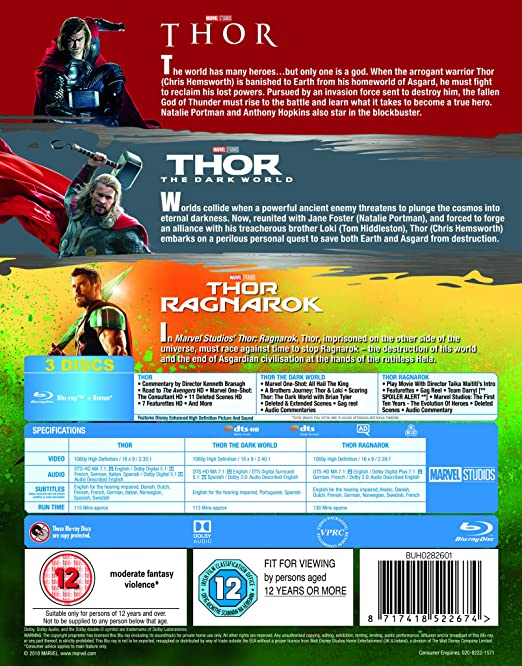 Amazon com: Thor 1-3 Box Set BD [Blu-ray] [2017] [Region Free