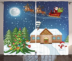 Ambesonne Christmas Curtains, Classical Xmas Scenery Santa Delivering Presents Rudolf The Red Nosed Reindeer, Living Room Bedroom Window Drapes 2 Panel Set, 108