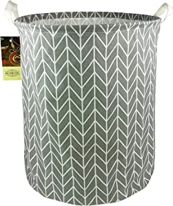 Large Toy Bins,Nursery Storage,Gift Baskets,Cotton & Linen Collapsible Fabric Laundry Hampers with Handles for Baby Room,Dog Toys,Bathroom(Grey Point)
