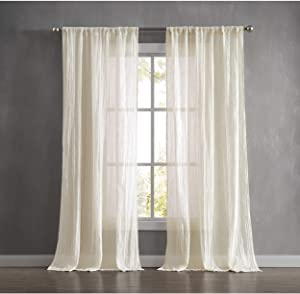 French Connection Charter Crushed Window Curtain 100 in. x 96 in. 2-Piece Set Natural
