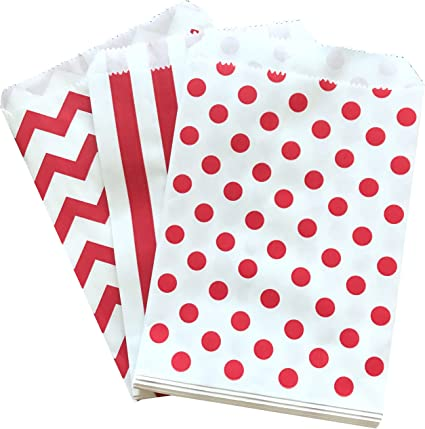 """50 5/"""" x 7/"""" Red Candy Stripe Paper Sweet Buffet Gift Shop Kraft Party Food Bags"""