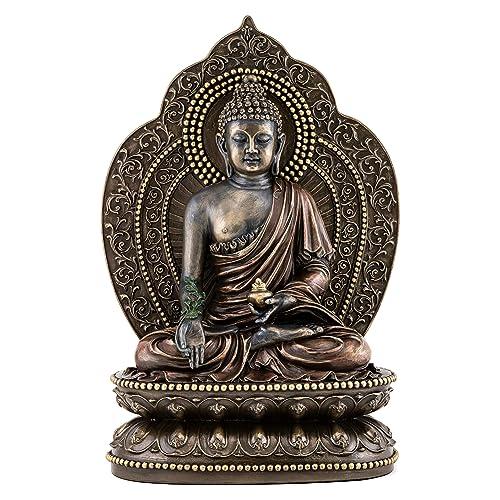 Top Collection Medicine Buddha Statue – Buddha of Healing Sculpture in Premium Cold Cast Bronze- 10.5-Inch Collectible Tibetan Figurine