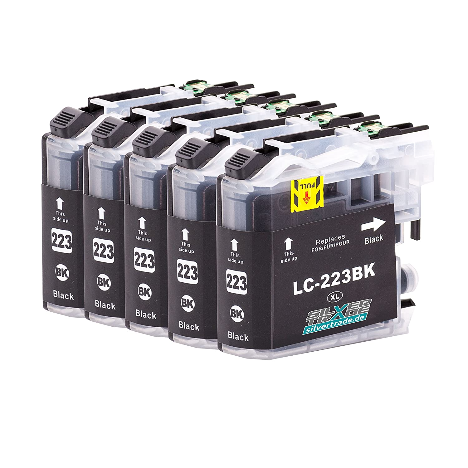 5 Cartuchos de tinta compatible para Brother LC223XL Negro con chip para Brother DCP-J4120DW / MFC-J4420DW / MFC-J4620DW / MFC-J4625DW / MFC-J4425DW / ...