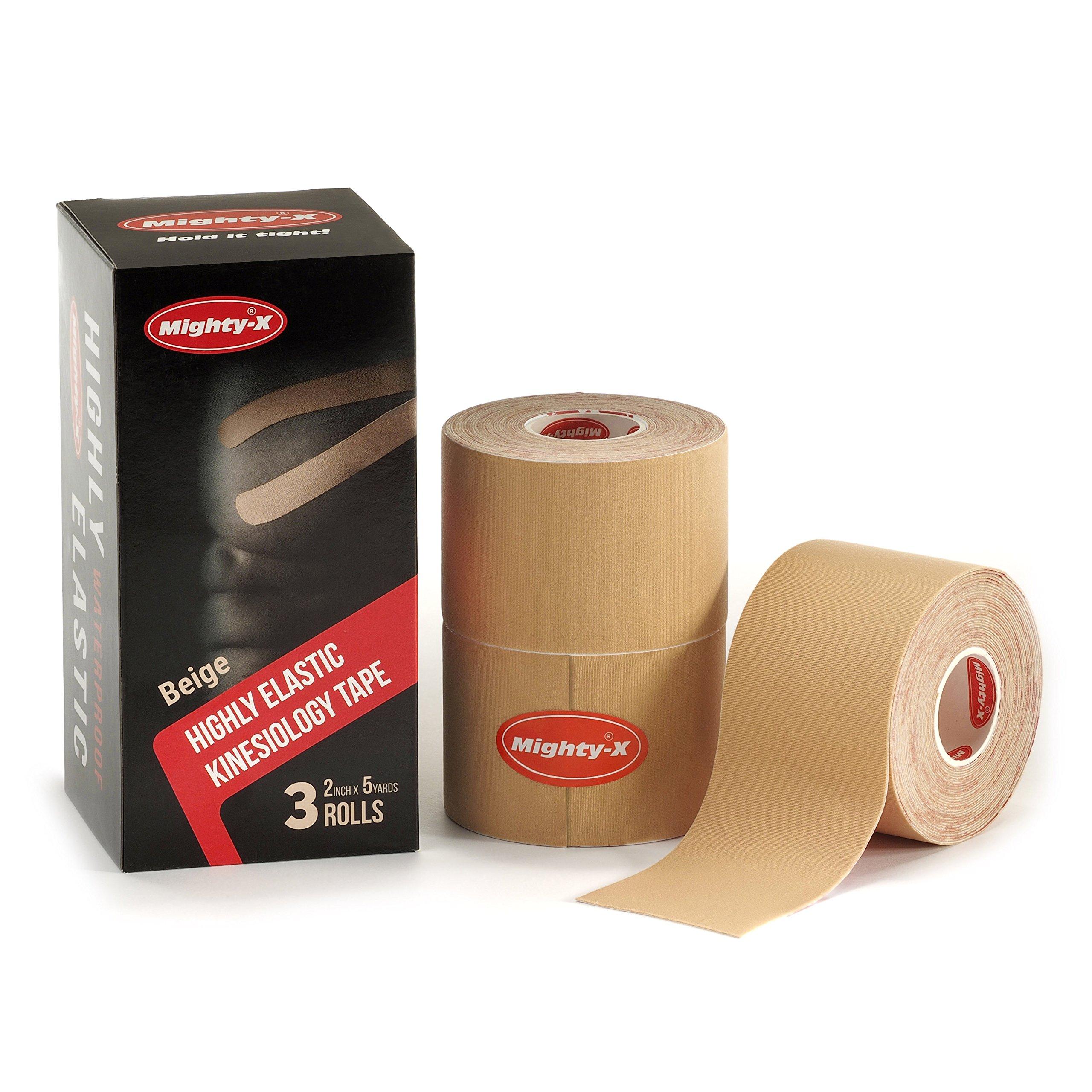 """Professional Kinesiology Tape - 3 Pack Beige - Uncut Tape - Synthetic Kinetic Tape - Heavy Duty Sport Tape - Muscle Tape - Ktape - Knee Tape - Premium Synthetic Sports Tape - K Tape - 2"""" x 5yd"""