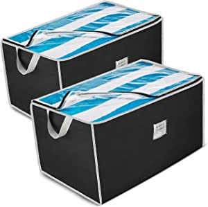 ZOBER Jumbo Storage Bag Organizer (2 Pack) Large Capacity Storage Box with Reinforced Strap Handles, PP Non-Woven Material, Clear Window, Store Blankets, Comforters, Linen, Bedding, Seasonal Clothing