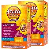 Metamucil On-the-Go, Psyllium Husk Fiber Supplement, 4-in-1 Fiber for Digestive Health, Sugar Free, Orange Flavored, 30 packe