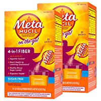 Metamucil Fiber, 4-in-1 Psyllium Fiber Supplement, Sugar-Free Powder Single-Serve...
