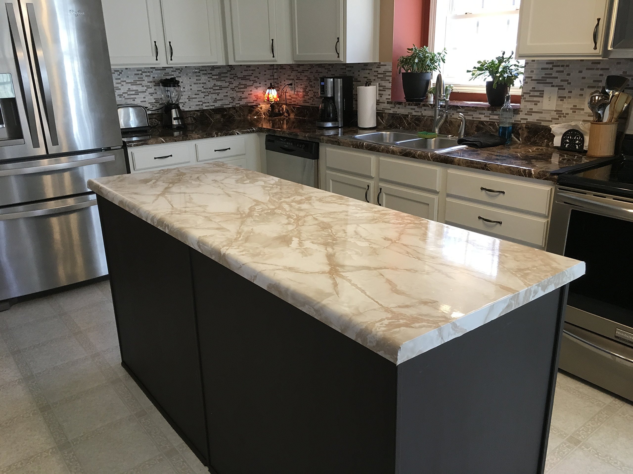 EZ FAUX DECOR 36'' W x 240'' L Decorative Peel and Stick White Riviera Creme Brulee Faux Marble Self Adhesive Counter Top Vinyl Film Update NOT Grandma's Contact Paper by EZ FAUX DECOR (Image #6)