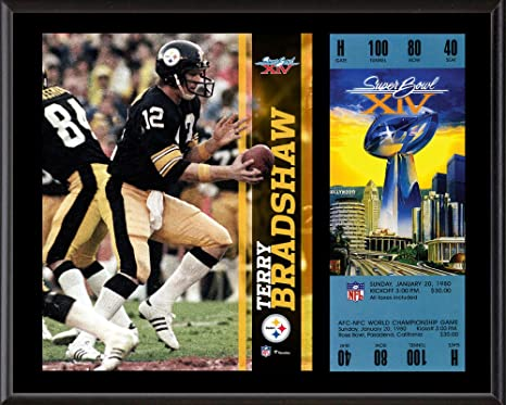 c87879680 Terry Bradshaw Pittsburgh Steelers 12 quot  x 15 quot  Super Bowl XIV  Plaque with Replica Ticket