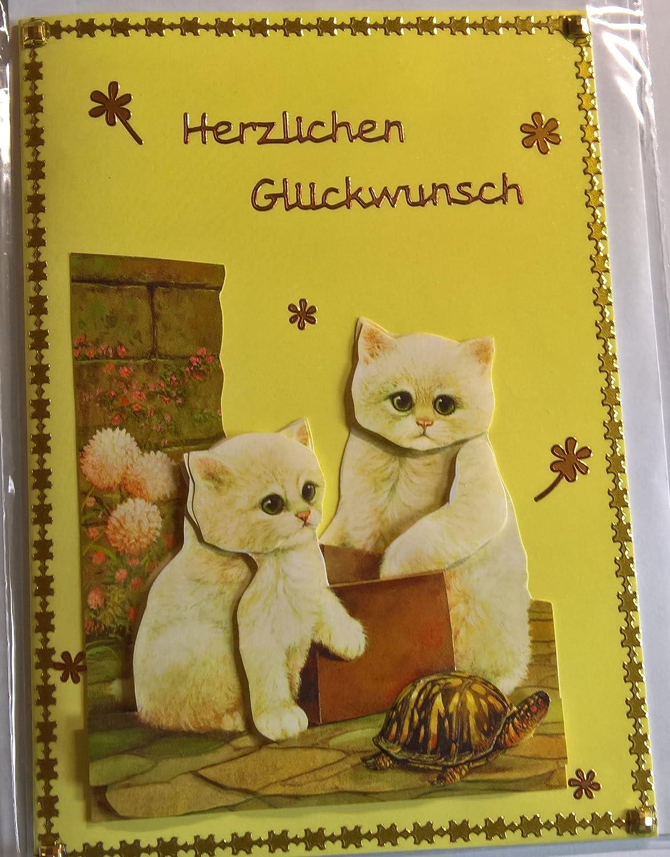 Geburtstagskarte mit zwei weißen Katzen