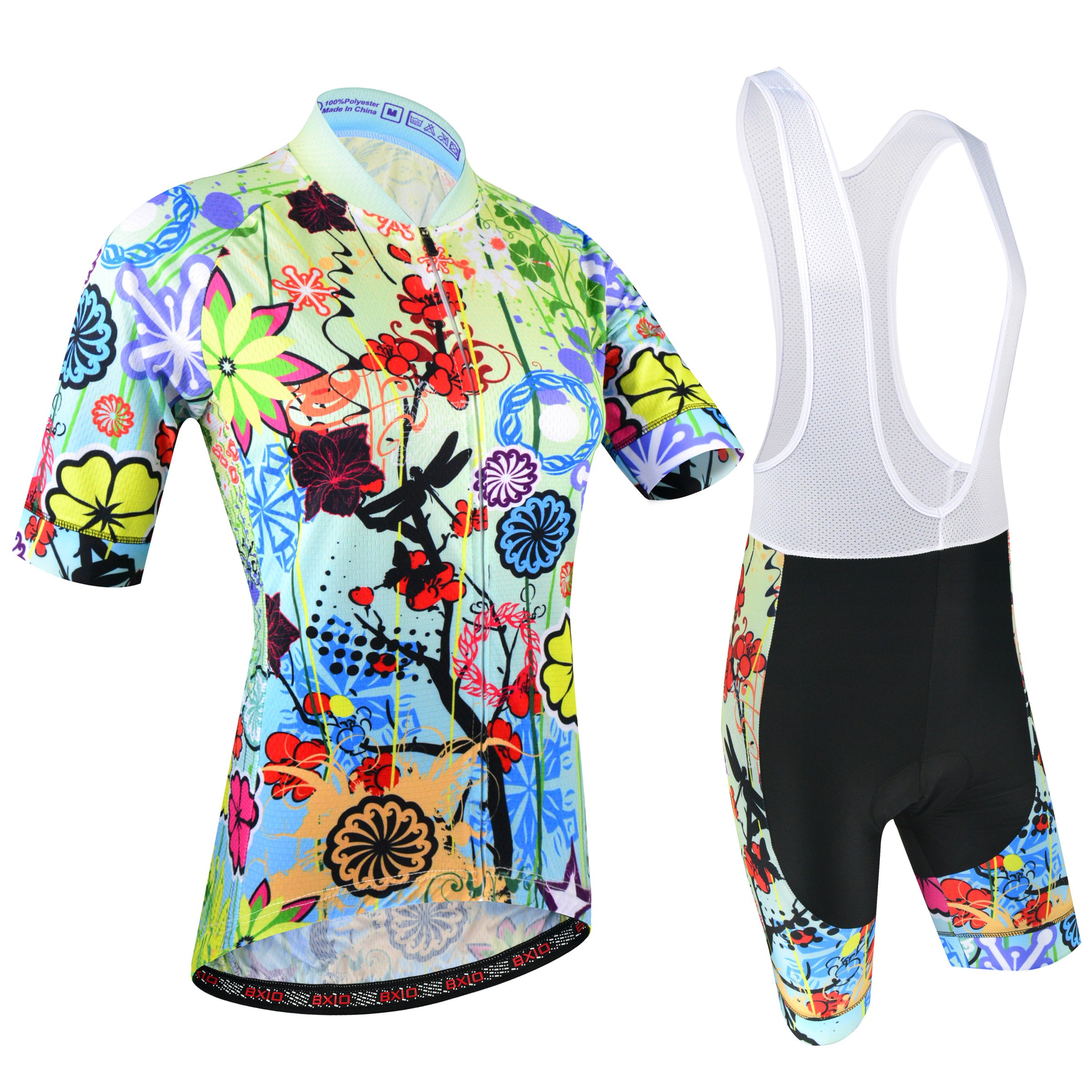 BXIO Women Cycling Clothing with Bib Shorts Double Lycra Flat Stitching for Cuff of Sleeve and Shorts End Pro Cycling Jersey 187 (Short Sleeve and bib Shorts, S)