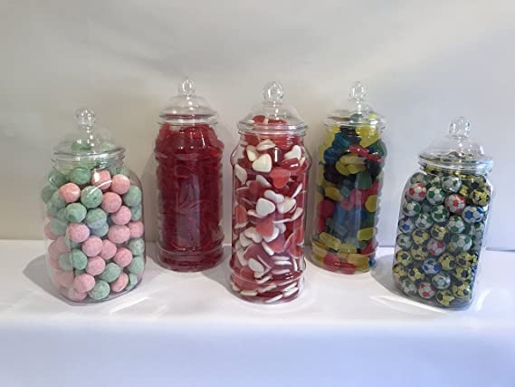 500ml Plastic Victorian Empty Sweet Shop Jars CANDY BUFFET WEDDING CHRISTMAS