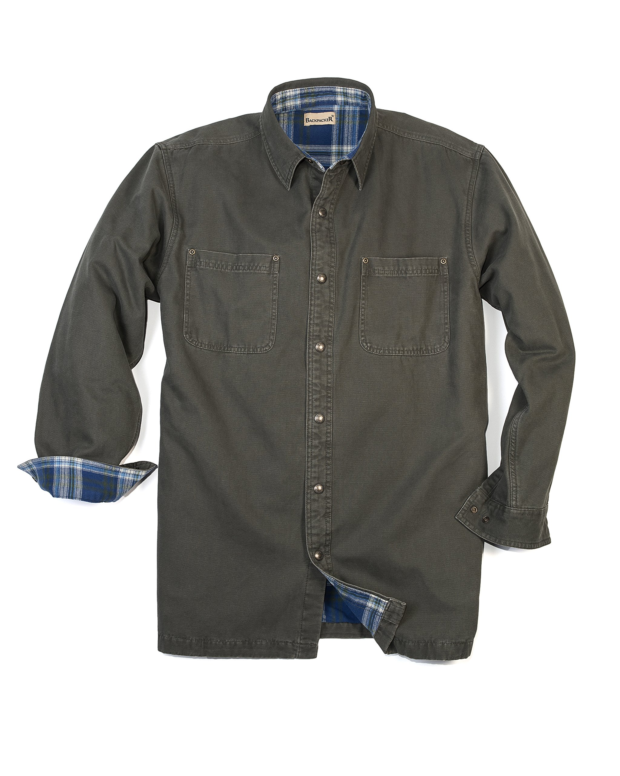 Backpacker Canvas/Flannel Lined Shirt Jacket, Moss Green, 3X-Large Tall by Backpacker