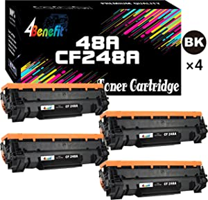 4Benefit Compatible Toner Cartridge Replacement for HP 48A 248A CF248A to Used for HP Laserjet Pro M15w M15a M16a M16w MFP M29w MFP M29a MFP M28w MFP M28a Printer (Black, 4-Pack)