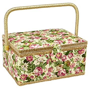 Sewing Basket with Rose Floral Print Design Sewing Kit Storage Box with Removable Tray, Built in Pin Cushion and Interior Pocket Large 12