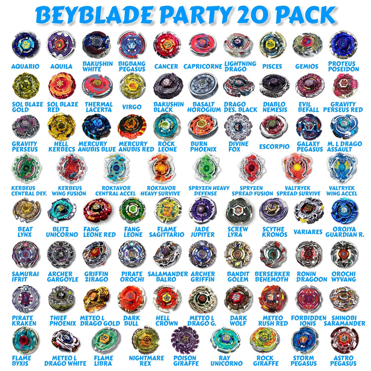 Beyblade Party 20 Random Beyblade Pack Metal Fusion, Metal Fury, Metal Master, Zero G Shogun Steel, Burst Series Shipped and Sold from The US