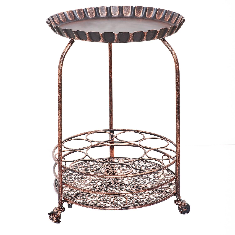 Old Dutch 615BCPop! Wine Serving Cart 17 x 251/2 Antique Copper, 9 Wine Bottles