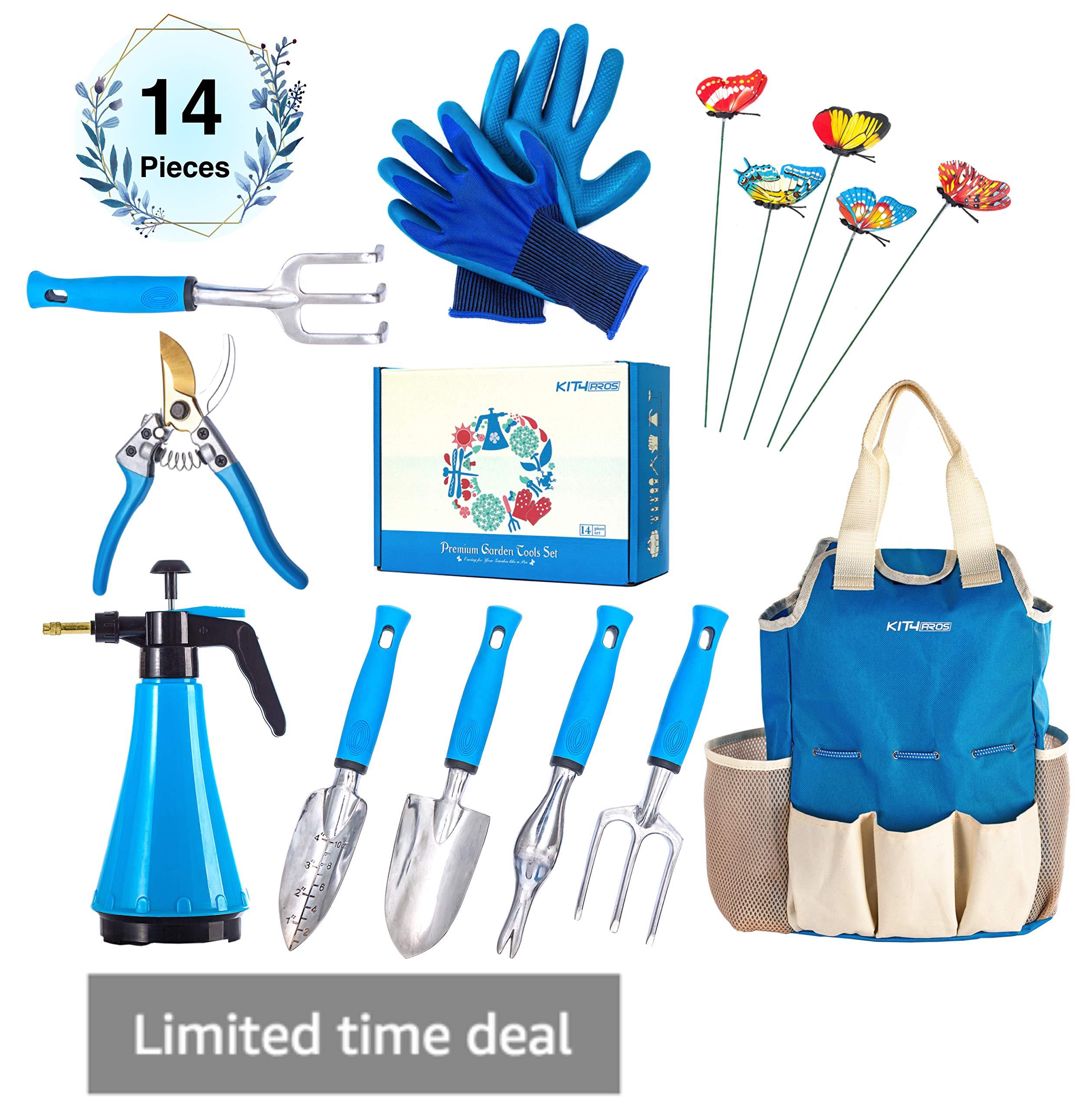 Kit4Pros Premium Garden Tools Set | Gardening Gifts for Women & Men | Heavy Duty Kit w/Ergonomic Handle | Weeder | Cultivator | Trowel | Storage Tote Bag Organizer | Pruning Shears & Gardener Gloves by Kit4Pros