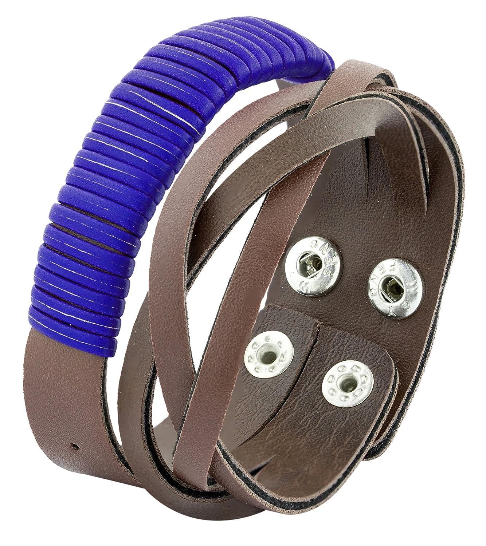 545556036bc3 La Jewelbox Funky Biker Azul Correa de piel sintética muñeca banda libre  tamaño marrón Pulsera para