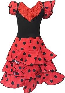 La Senorita vestito Flamenco spagnolo/Costume Niño Lusso rosso nero - per ragazzi/bambini