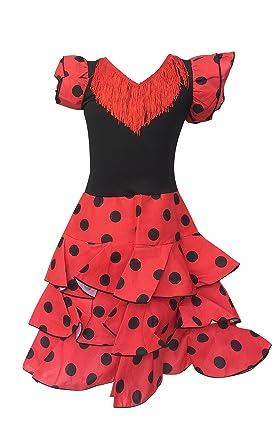 ba7965760 Amazon.com: La Senorita Spanish Flamenco Dress - Girls/Kids - Red/Black  Deluxe: Clothing