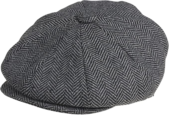 1920s Men's Hats – 8 Popular Styles PEAKY BLINDERS 8 Piece Newsboy Style Flat Cap -Tweed Wool Fabric Variations £30.77 AT vintagedancer.com