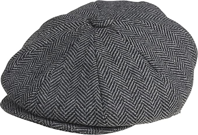 New Edwardian Style Men's Hats 1900-1920 PEAKY BLINDERS 8 Piece Newsboy Style Flat Cap -Tweed Wool Fabric Variations £30.77 AT vintagedancer.com