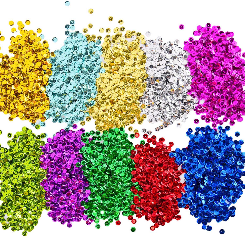 Paillettes Lustrini Coppa Sfusa Paillettes Sciolti per Fai Da Te Arte Produzione di Artigianato, 10 Colori, 6 mm, 100 Grammi Shappy