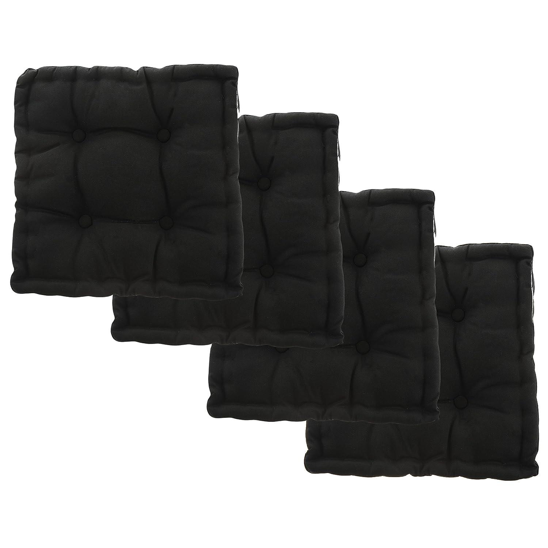 "White Dove Chair Pads - Cotton Canvas - Value 4 Pack - Fits 16"" Chair - XL Futon - Classic Design, by Unity (Black)"