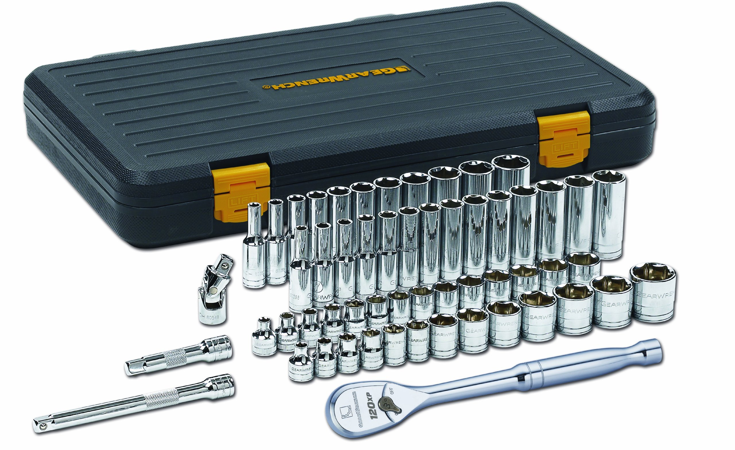 GearWrench 80550P 3/8-Inch Drive SAE/Metric 6 Point Standard and Deep Socket Set, 56-Piece by Apex Tool Group